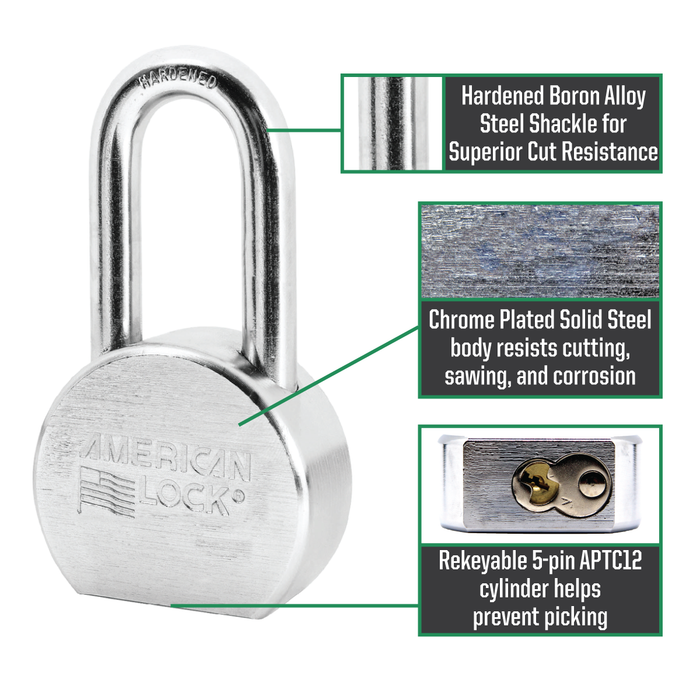 American Lock A701 2-1/2in (64mm) Solid Steel Rekeyable Padlock, Chrome Plated, with 2in (51mm) Shackle