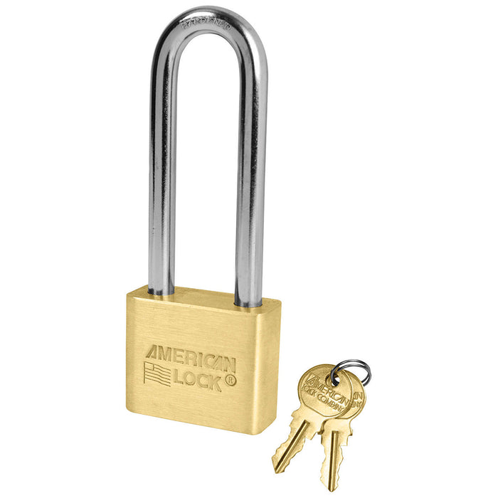 American Lock AL52 1-3/4in (44mm) Solid Brass Blade Tumbler Padlock with 3in (76mm) Shackle, Keyed Alike