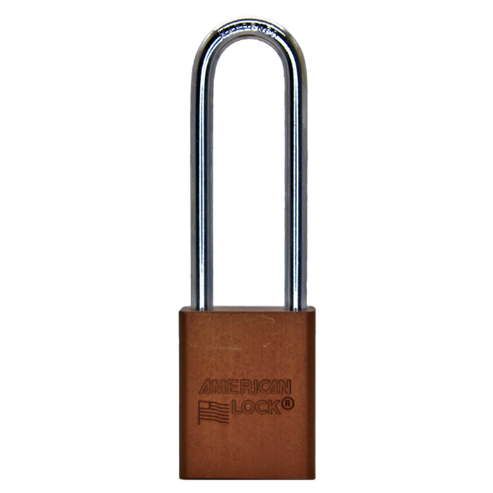 American Lock A1107 Anodized Aluminum Safety Padlock, 1-1/2in (38mm) Wide with 3in (76mm) Tall Shackle-Keyed-MasterLocks.com