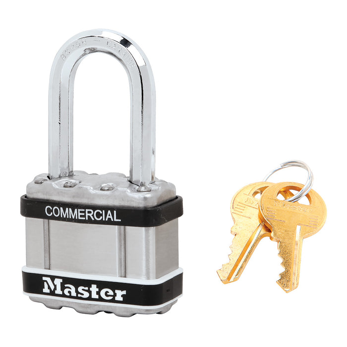 Master Lock M1 Commercial Magnum Laminated Steel Padlock with Stainless Steel Body Cover 1-3/4in (44mm) Wide