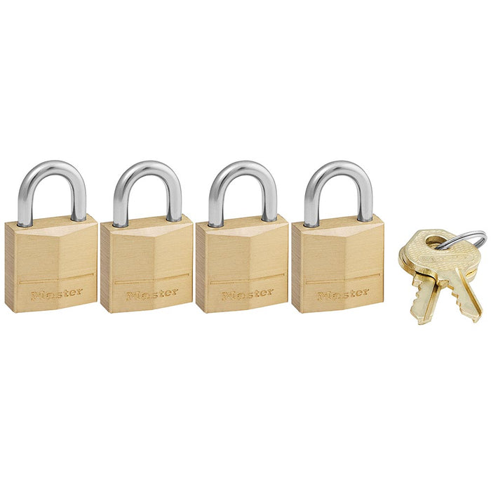 Master Lock 120Q Solid Brass Body Padlock, 4 Pack 3/4in (19mm) Wide