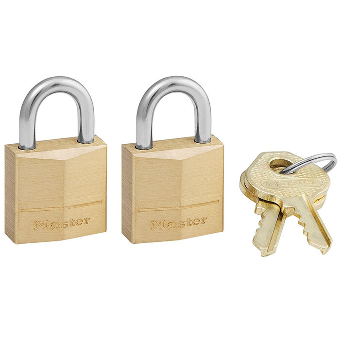 Master Lock 120T Solid Brass Body Padlock, 2 Pack 3/4in (19mm) Wide