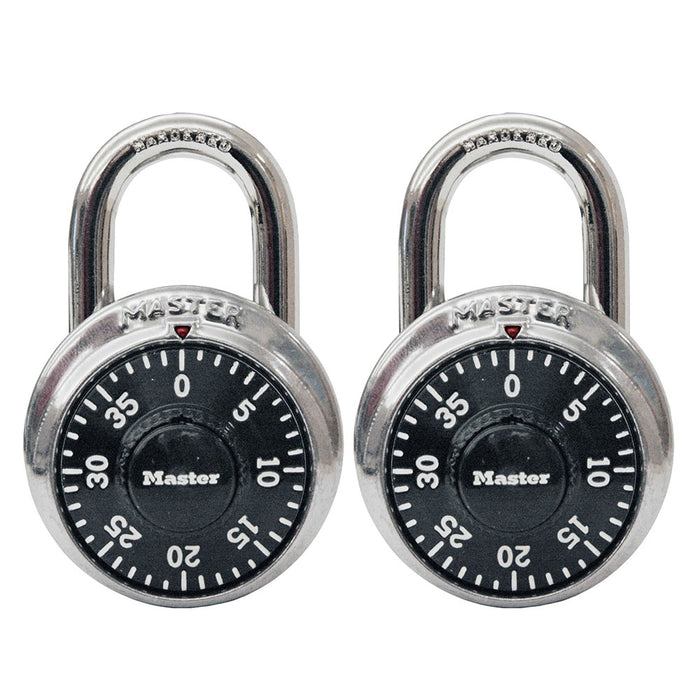 Master Lock 1500T Combination Dial Padlock; 2 Pack 1-7/8in (48mm) Wide