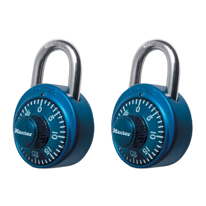 Master Lock 1530T Standard Combination Dial Padlock with Aluminum Cover; Assorted Colors; 2 Pack 1-7/8in (48mm) Wide