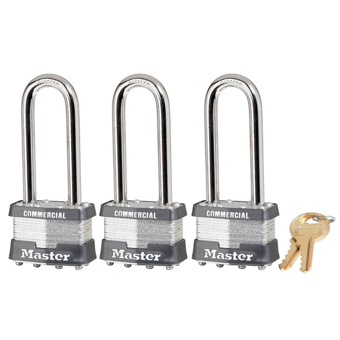 Model No. 1TRILJCOM 1-3/4in (44mm) Wide Laminated Steel Padlock with 2-1/2in (64mm) Shackle, 3-Pack Keyed Alike