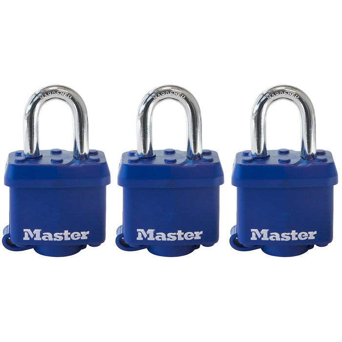 Master Lock 312TRI Covered Laminated Steel Padlock; Blue; 3 Pack 1-9/16in (40mm) Wide-Keyed-MasterLocks.com