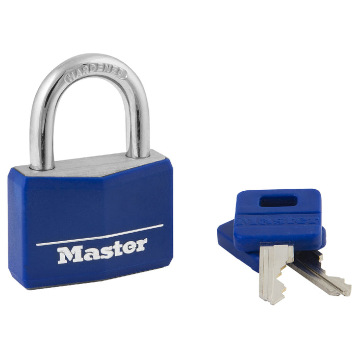 Master Lock 142DCM Covered Solid Body Padlock; Blue 1-9/16in (40mm) Wide