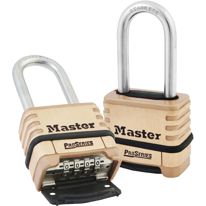 Master Lock 1175 2-1/4in (57mm) Wide ProSeries® Brass Resettable Combination Padlock with 2-1/16in (53mm) Round Shackle-Combination-MasterLocks.com