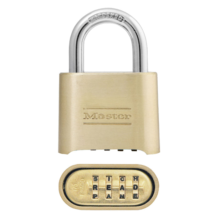 Master Lock 175DWD Set Your Own WORD Combination Solid Body Padlock 2in (51mm) Wide