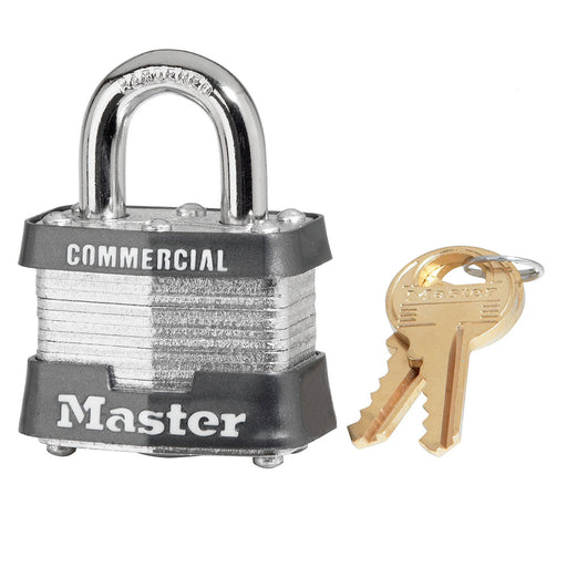 Master Lock 3 Laminated Steel Padlock 1-9/16in (40mm) Wide-Keyed-MasterLocks.com