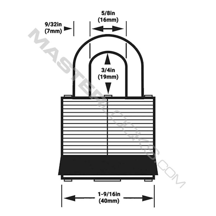 Master Lock 3YLW-MJ32420 Laminated Steel Padlock 1-9/16in (40mm) Wide (Keyway: MJ32420)