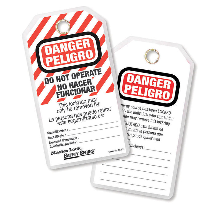Master Lock 497AX Do Not Operate Safety Tag, Spanish/English, Laminated