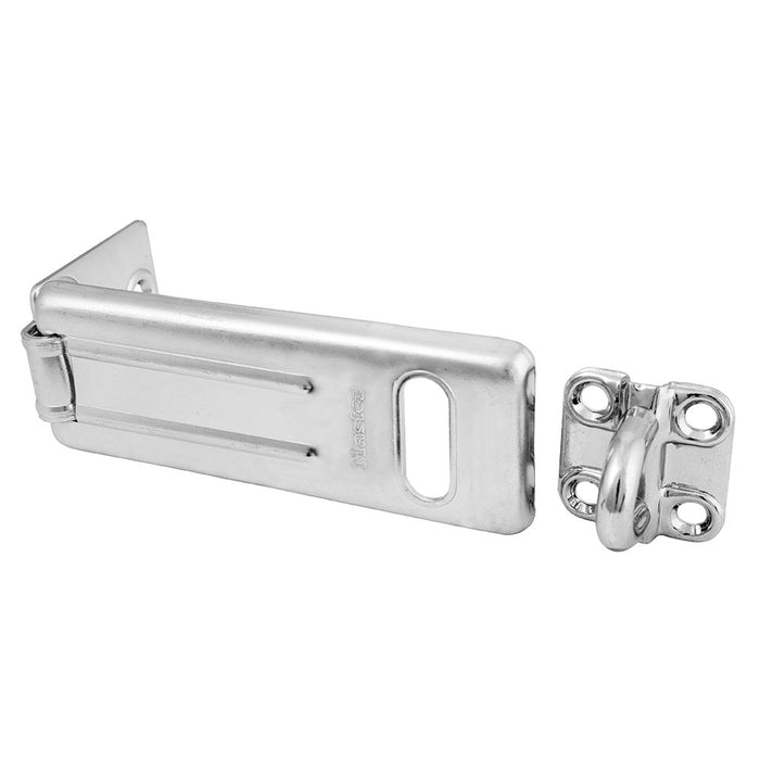 Master Lock 704DPF 4-1/2in (11cm) Long Zinc Plated Hardened Steel Hasp with Hardened Steel Locking Eye