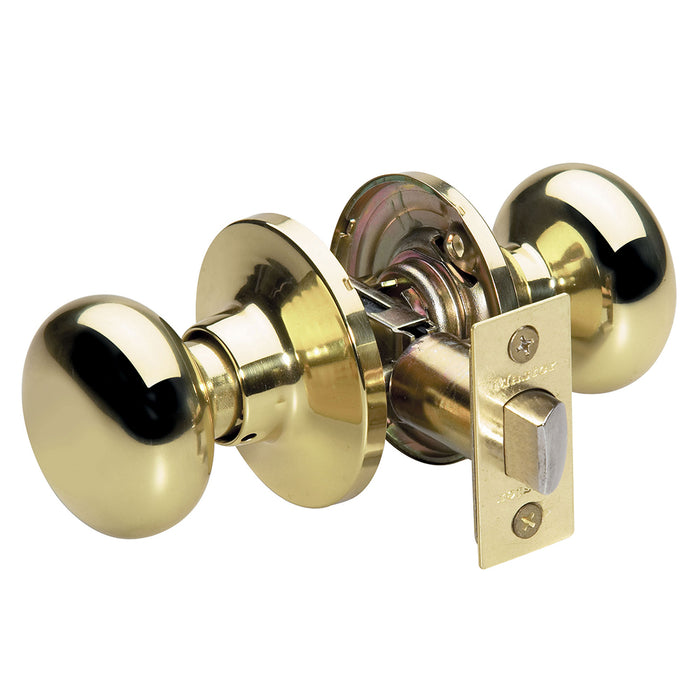 Master Lock BCO0403 Biscuit Style Hall and Closet Door Knob; Polished Brass