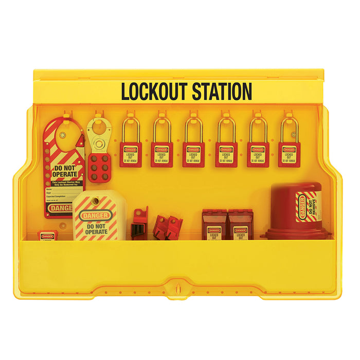 Master Lock S1850E410 Lockout Station, Electrical Focus, Zenex™ Thermoplastic Padlocks