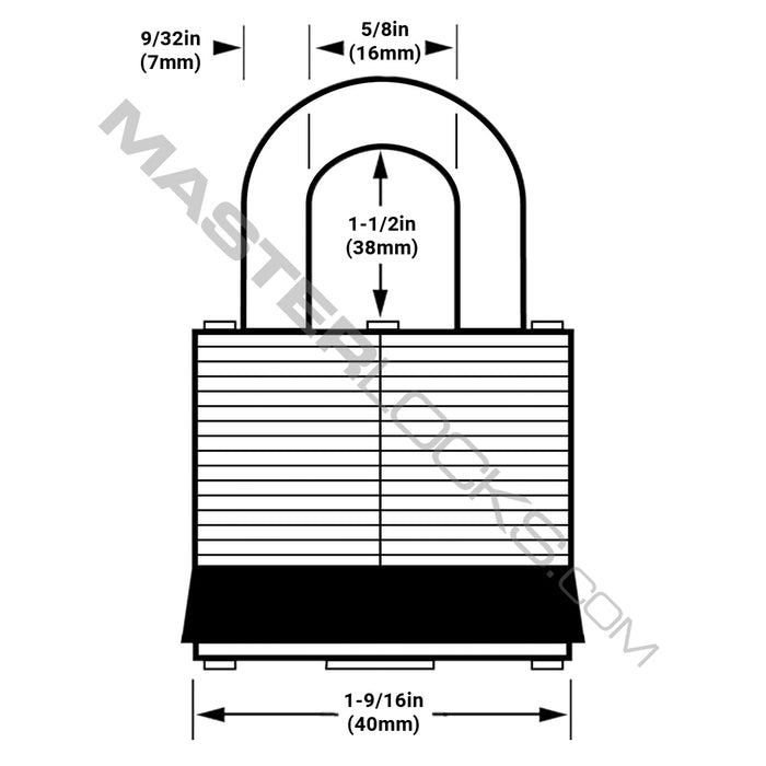 Master Lock 311SSTRI 1-9/16in (40mm) Wide Covered Stainless Steel Padlock with 1-1/2in (38mm) Shackle; 3 Pack; Black