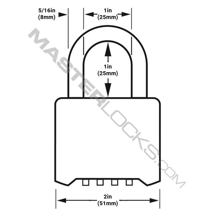 Master Lock 975DCOM Resettable Combination Brass Padlock 2in (51mm) Wide