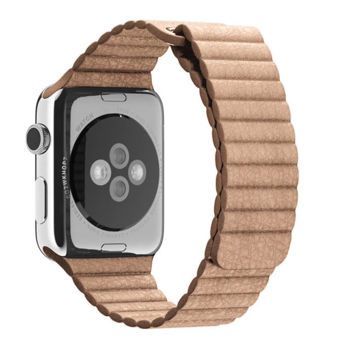 Beige Leather Loop Apple Watch Band - Standout Bands
