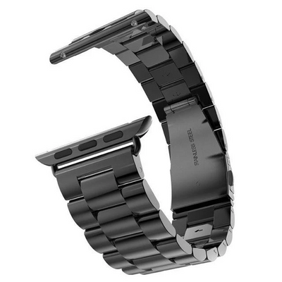 Black Classic Stainless Steel Apple Watch Band - Standout Bands