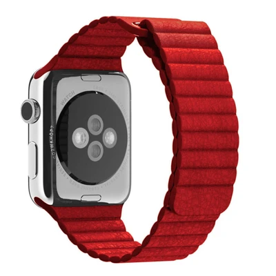 Red Leather Loop Apple Watch Band - Standout Bands