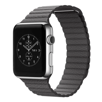 Space Grey Leather Loop Apple Watch Band - Standout Bands