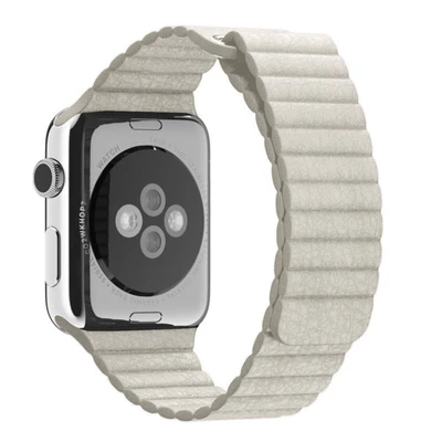 White Leather Loop Apple Watch Band - Standout Bands