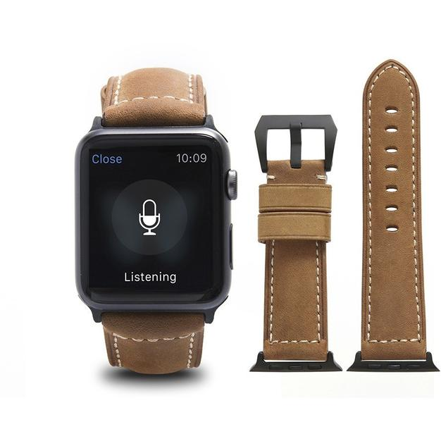 Light Brown Calf Leather Apple Watch Band