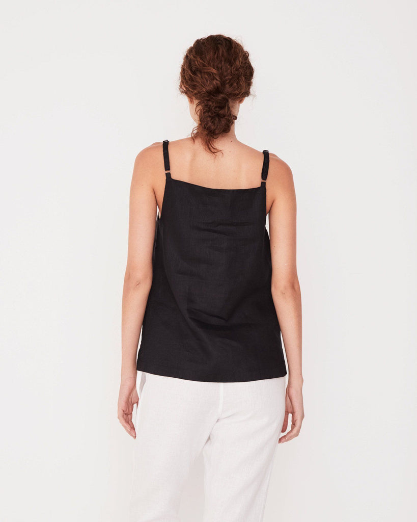 Linen Pinafore Top in Black