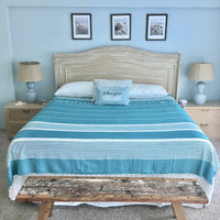 Fouta Nautica - XL & XXL  - Super Light Weight Bedspread, Sofa Cover or Bed Cover on a Boat