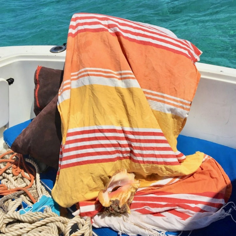 Tunisia Fouta Towel On Boat