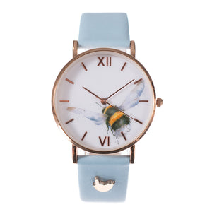 Wrendale 'Flight of the Bumblebee' Leather Watch