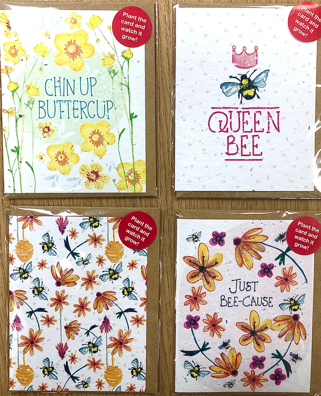 Plantable Seed Cards - Pack of 4 - Yellow Pack
