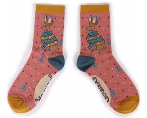 Winter Hare Ankle Socks - Bamboo