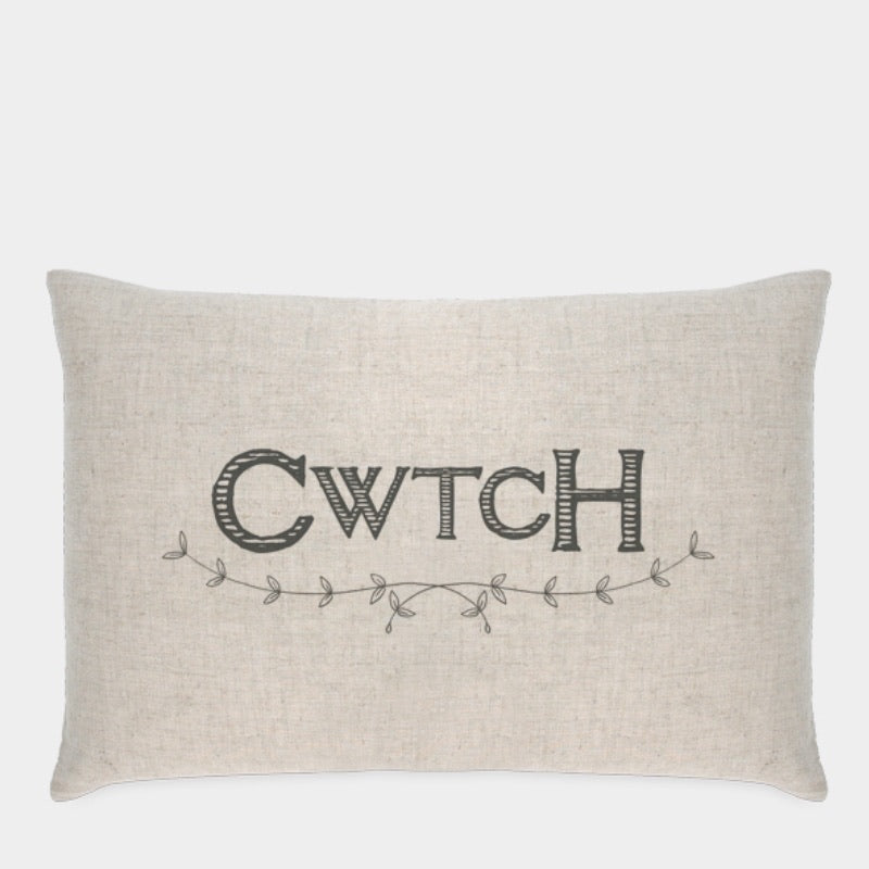 Cwtch Linen Cushion - Feather Filled