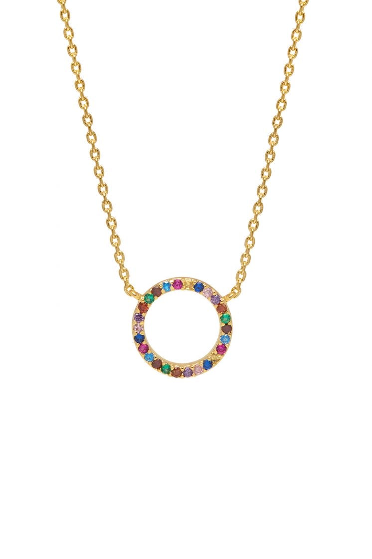 Gold Plated Rainbow Circle Necklace - Estella Bartlett