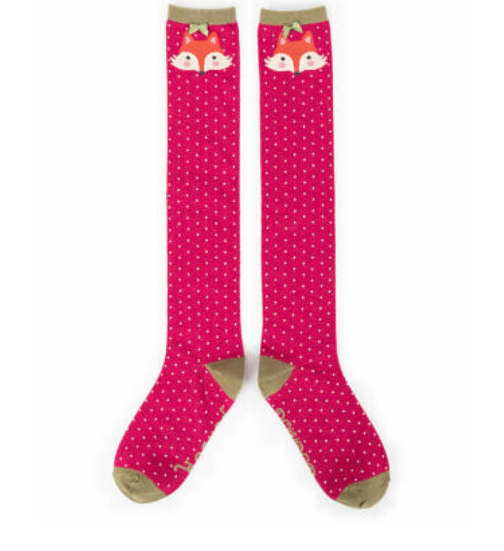 Powder Knee High Fox Socks