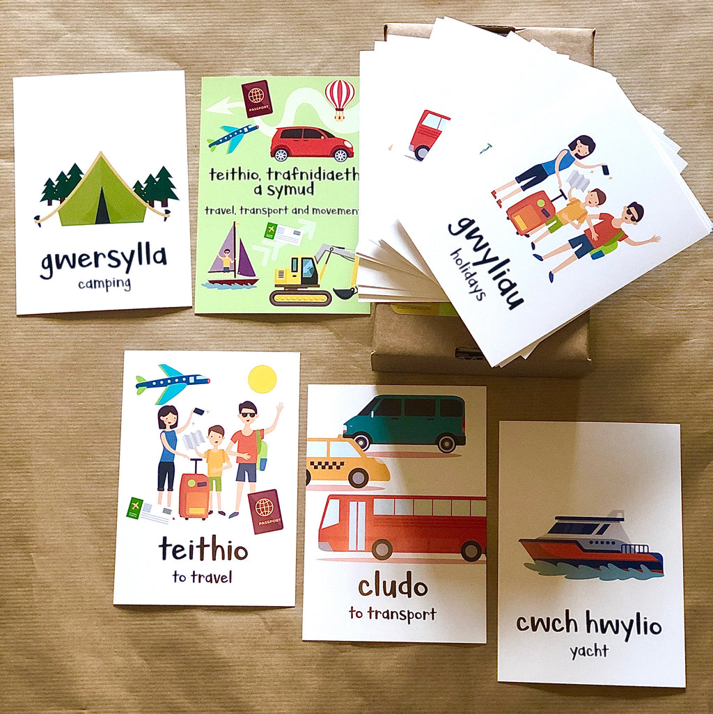 Welsh Language Transport Flash Cards