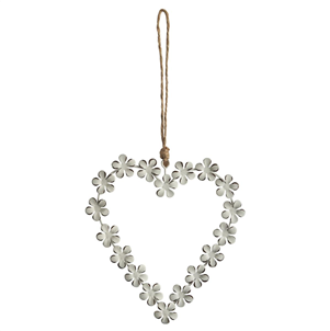Daisy Chain White Hanging Heart