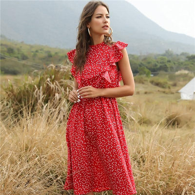 Nona Vintage Chic Dress Dresses MSFILIA Official Store Red S