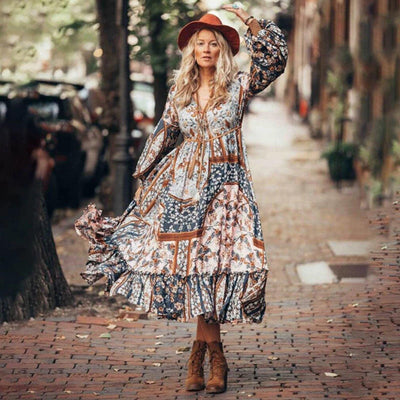 Leonis Patchwork Boho Dress Dresses movokaka apparel Store Multicolors S