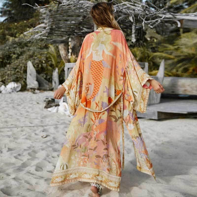 Haedi Dream Sea Kimono Blouses & Shirts AYUALIN `Bohemia beachwear Store orange S