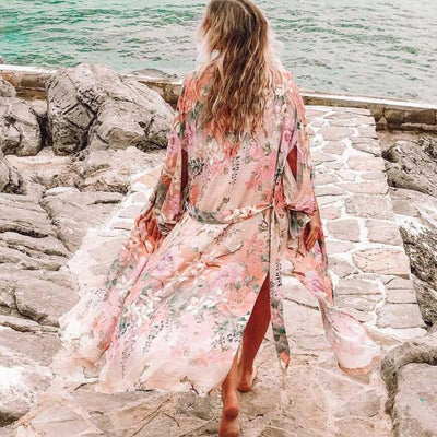 Flora Beautiful Dream Boho Kimono Dresses AYUALIN `Bohemia beachwear Store Pink Floral S