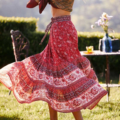 Rhea Hippie Batik Midi Skirt Midi Skirt Happie Queens Store