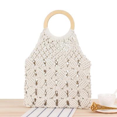 ' Taika' Cotton Knitting Wooden Handle Handbags Top-Handle Bags REREKAXI shiheng Store Beige