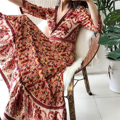 Majoris Elegant Batik Floral Maxi Dress Dresses TEELYNN Store Red S