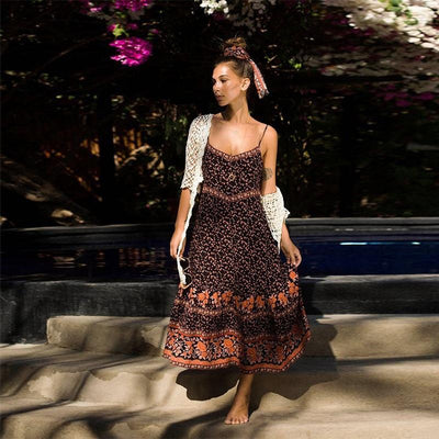 Aveta Gypsy Soul Dress Dresses TEELYNN Store Brown S