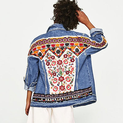 Macha Ethnic Denim Jacket Jackets Retro runway City Store
