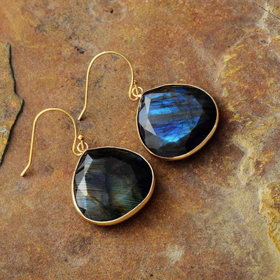 Labradorite Drop Earrings Earrings Diosa Divina