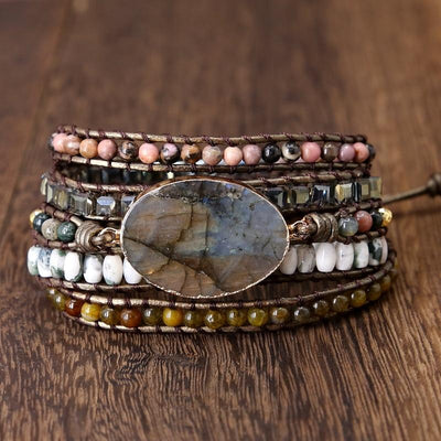 Labradorite Native Bracelet Diosa Divina Dark Brown