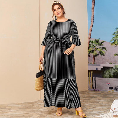 Plus Size Dress Summer Sleeve Striped Diosa Divina